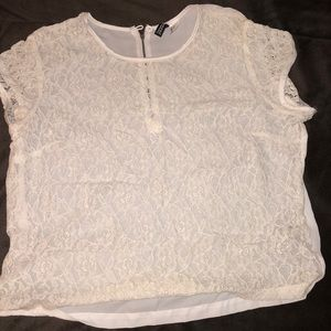 H&M Sheer Lace Top Size 10 Short Sleeves (White)
